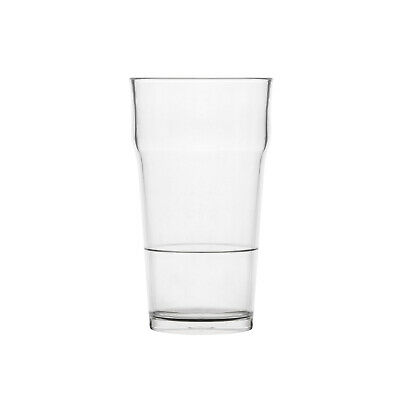 24x Polysafe Beer Pint 540mL Nucleated Polycarbonate Plastic Glass Nonic Tumbler