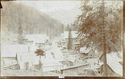 UH Henry Cabinet Photo - Street Scene in Bourne Oregon 1890s - A Ghost Town Now