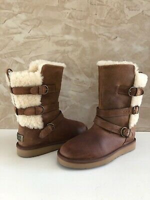 d0658e8f4e5 UGG BECKET CHESTNUT Water-resistant Leather Fur Buckle Boots Size US ...