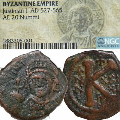 JUSTINIAN I Christian Cross NGC Certified Ancient Coin 560 AD Byzantine Empire