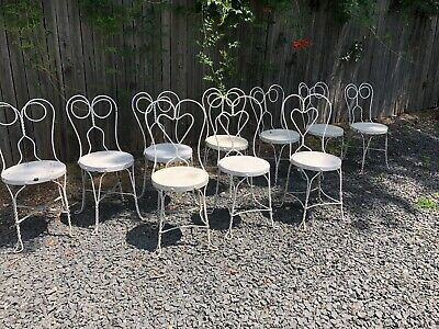 10 VINTAGE ICE CREAM PARLOR CHAIRS-READY TO USE-  pick up only