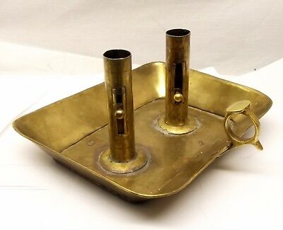 Antique Brass Double Chamberstick Adjustable Candle Holder Drip Tray Push Up