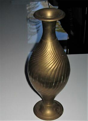 Lovely Vintage Lge Brass Vase + 2 Free Brass Goblets - India - Good Cond For Age