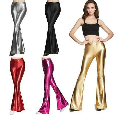 Womens Shiny Flare Leggings Bell-bottoms Pants 70's Disco Clubwear PartyTrousers