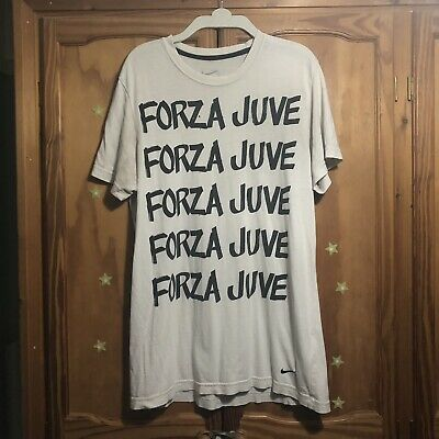 VINTAGE NIKE JUVENTUS FORZA JUVE TSHIRT SIZE L RARE USED CONDITION *Read Descrip