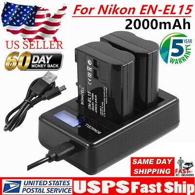 US EN-EL15 Battery + LCD Charger For Nikon D600 D750 D7000 D7200 D800 D810 V1 UB