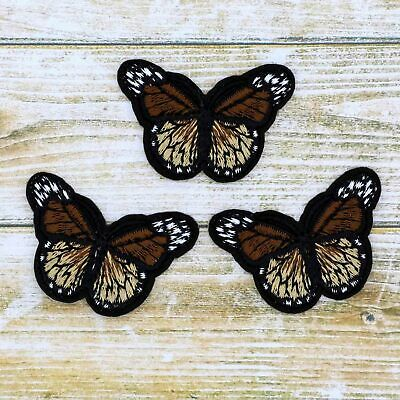 Bulk 3/12Pcs Embroidered Brown Small iron on Patches Monarch butterfly Appliques