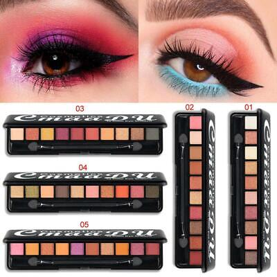 Makeup Cosmetic Shimmer Matte Naked 10 Colors Pigment Eyeshadow Palette Sombras