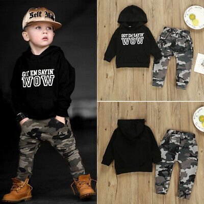 UK Newborn Baby Boys Hooded Tops Sweatshirt Camouflage Pants Outfits Set Clothes