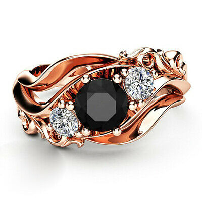 Pretty Women Rings Rose Gold Filled Round Cut Black Sapphire Ring Size 6-10