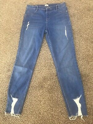 Girls River Island Blues Stretch Distressed Jeans 10years