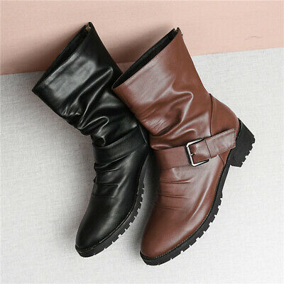 720bd18e54b DAILYSHOES WESTERN WOMENS Slouch Mid Calf Ankle Strap Buckle Cowboy ...