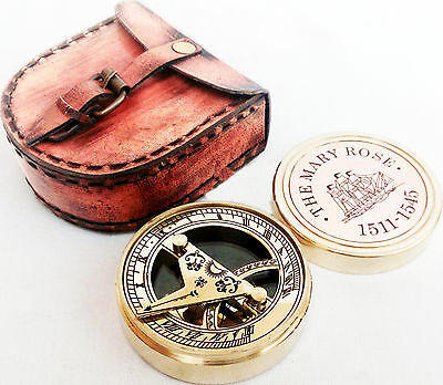The Mary Rose Brass Sundial Compass / Antique Sundial Compass / Nautical Compass