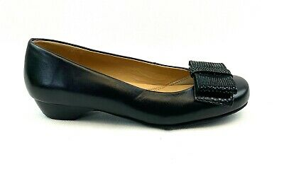 Womens Girls Hotter Back to School Bow Flat Leather Shoes Black