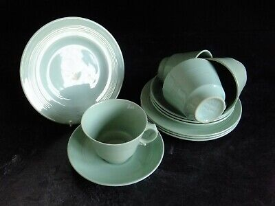 VINTAGE WOODS WARE BERYL ( GREEN ) ~ 4 x TRIOS~ CUPS, SAUCERS, PLATES ~ UTILITY