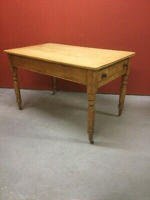 Antique Victorian Pine Kitchen Table With Drawer Under Sn-829a