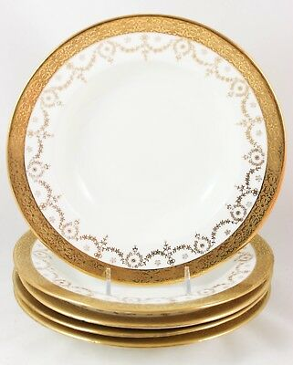 6 SETS CREAM SOUP BOWL SAUCER DOULTON CHINA HOLYROOD H2901 RAISED GOLD ENCRUSTED