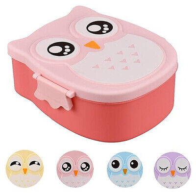Portable Cartoon Owl Lunch Box Food Container Storage Box Kids School Bento Box