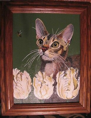 "C85 Original Acrylic Painting By Ljh ""Abyssinian With White Tulips"" Cat Kitten"