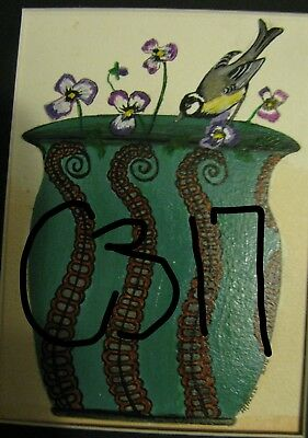 "C317 Original Acrylic Painting By Ljh  ""Bird On Octopus Vase"""