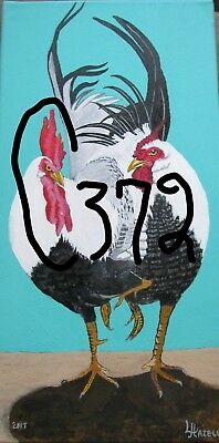 "C372    Original Acrylic Painting By Ljh    ""Two Roosters"""