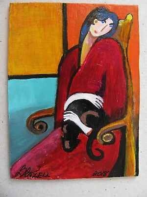 "A681      Original Acrylic Aceo Painting By Ljh         ""Cat Lady"""