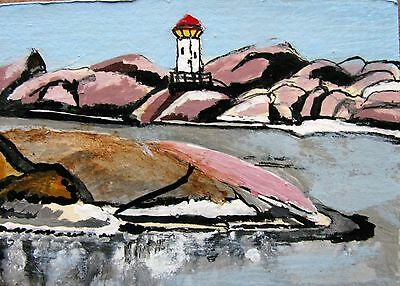 "A448  Original Acrylic Art Aceo Painting By Ljh ""Lighthouse''"