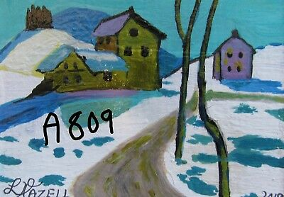 "A809          Acrylic Art Aceo Painting By Ljh      ""Snowy Landscape"""