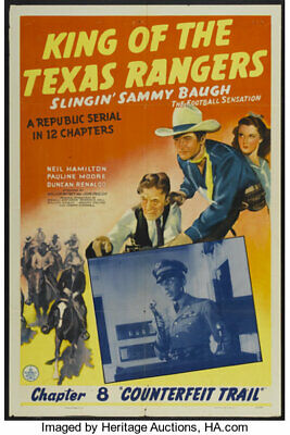 Super 8mm sound 1X50 KING OF THE TEXAS RANGERS  serial trailer. 1941 classic.