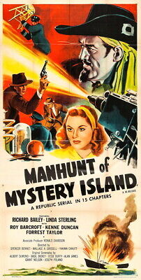 Super 8mm sound 1X50 MANHUNT OF MYSTERY ISLAND  serial trailer. 1945 classic.