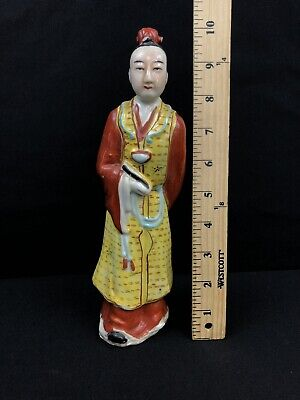 Antique Chinese Porcelain Figurine Of Chinese Man No/reserve Magnificent Detail
