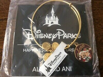 Disney Parks Alex & Ani Mickey Minnie Holiday Christmas Love Bracelet GOLD