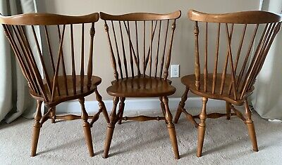 3 VINTAGE ETHAN ALLEN CHAIRS Heirloom Maple Fiddleback Windsor Chairs 10-6020