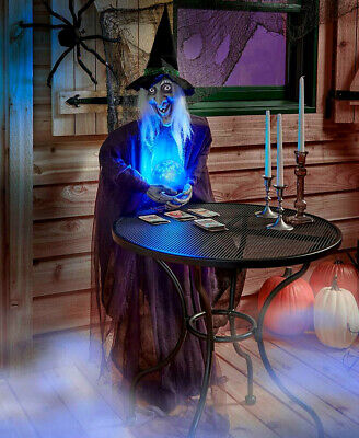 5 Ft. Life Size Psychic WITCH Crystal Ball Haunted Scary Halloween Festive Decor