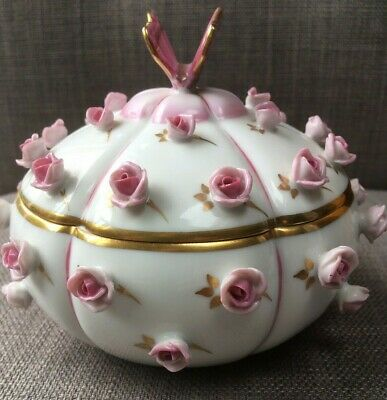 Amazing Rare Herend Porcelain Butterfly Dish with Pink Roses - First Edition