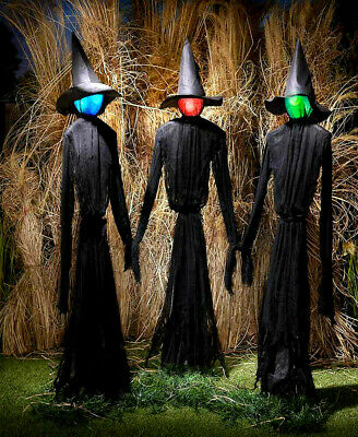 5 Ft. Life Size Lighted Color Changing Witches Witch Set Halloween Festive Decor