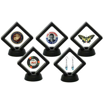 Black Coin Frame Plastic 3D Floating Holder Box Case Stand Square Collection