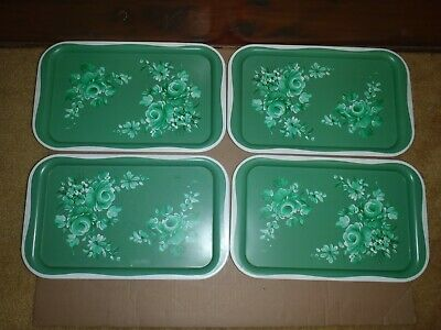 4 Green Roses Vintage Metal Trays mini tin tole ware snack Hand Painted
