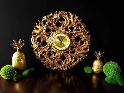 Vintage Welby 8 Day Clock Gilded Gold Rococo German Movement Works Ormolu Hollyw