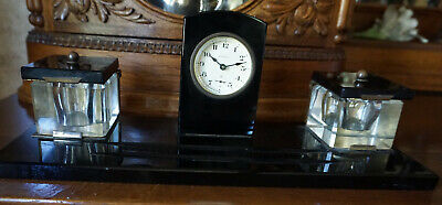 Antique Ink Wells and Clock Desk Set Black Onyx Art Deco