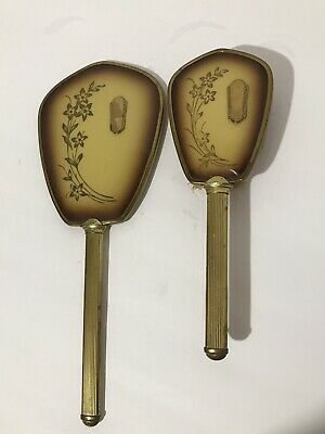 Beautiful Vintage Hand Mirror And Brush Vanity Set Floral And Gold Pattern
