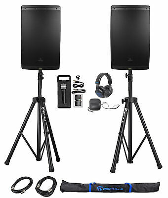 "(2) JBL EON615 15"" 2000 Watt Powered DJ PA Speakers+Stands+Cables+Mic+Headphones"