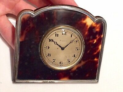 Antique 1902 Silver & Faux Tortoiseshell Swiss 8 Day Clock by Walker & Hall