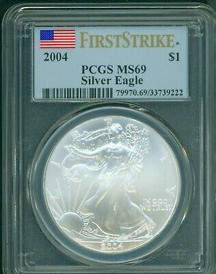 2004  American Silver Eagle ASE S$1 PCGS MS69 MS-69 FIRST STRIKE FS !!!