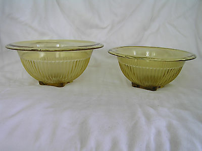 *2 Federal Glass Amber Yellow Ribbed Nesting Mixing Bowls Vintage