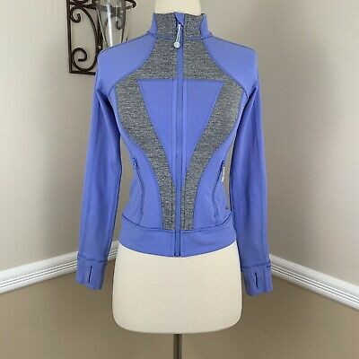 Ivivva by Lululemon Girls Perfect Your Practice Jacket Blue Heathered Grey 10