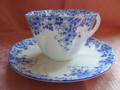 Shelley Bone China, England, Dainty Blue Pattern, Flat Cup/Saucer Set(S) - Vgc