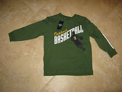 NWT S (4) OshKosh B'gosh Long Sleeved Green T-Shirt with Basketball Player