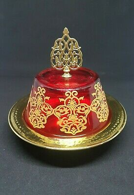 Vintage Art Islam Brass Plate Bowl Ruby Red Glass Lid Antique Arab carved Decor