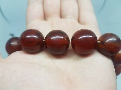 Galalith French Bakelite Antique Art Deco Cherry Red Necklace Huge 80 cm / 109 g